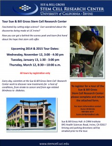 Stem Cell Research Center Tour Flyer 2014 and 2015